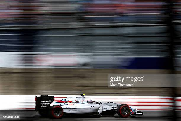 Valtteri Bottas of Finland and Williams drives during qualifying ahead of the Austrian Formula One Grand Prix at Red Bull Ring on June 21 2014 in...