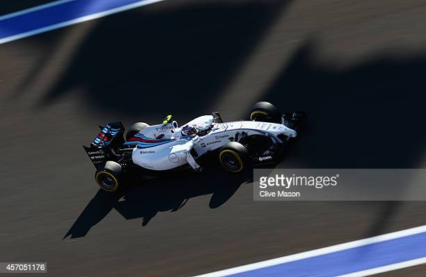 Valtteri Bottas of Finland and Williams drives during qualifying ahead of the Russian Formula One Grand Prix at Sochi Autodrom on October 11 2014 in...