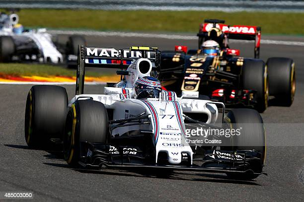 Valtteri Bottas of Finland and Williams drives during the Formula One Grand Prix of Belgium at Circuit de SpaFrancorchamps on August 23 2015 in Spa...