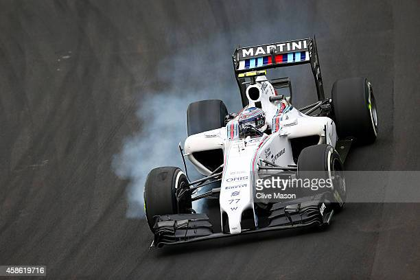 Valtteri Bottas of Finland and Williams locks up during final practice for the Brazilian Formula One Grand Prix at Autodromo Jose Carlos Pace on...
