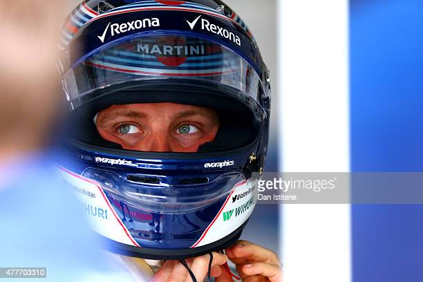 Valtteri Bottas of Finland and Williams prepares in the garage during practice for the Formula One Grand Prix of Austria at Red Bull Ring on June 19...