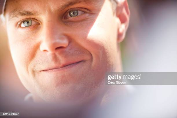 Valtteri Bottas of Finland and Williams speaks with members of the media during previews ahead of the Hungarian Formula One Grand Prix at Hungaroring...