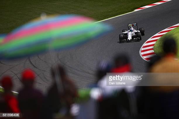 Valtteri Bottas of Finland drives the 7 Williams Martini Racing Williams FW38 Mercedes PU106C Hybrid turbo during the Spanish Formula One Grand Prix...