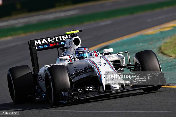 Valtteri Bottas of Finland drives the Williams Martini Racing Williams FW38 Mercedes PU106C Hybrid turbo on track during the Australian Formula One...