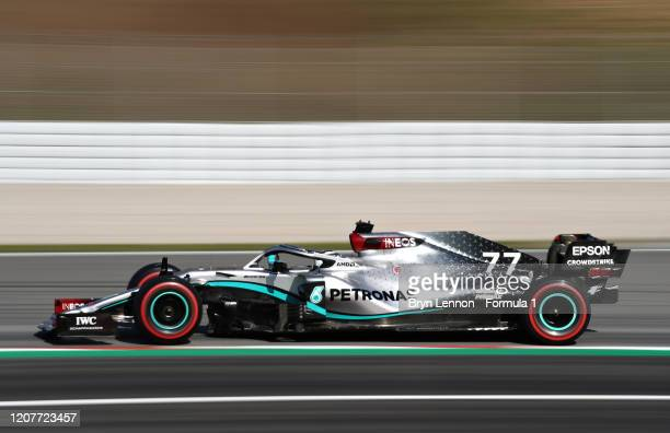 Valtteri Bottas of Finland driving the Mercedes AMG Petronas F1 Team Mercedes W11 on track during day three of F1 Winter Testing at Circuit de...