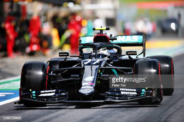 Valtteri Bottas of Finland driving the Mercedes AMG Petronas F1 Team Mercedes W11 in the Pitlane before the Formula One Grand Prix of Styria at Red...