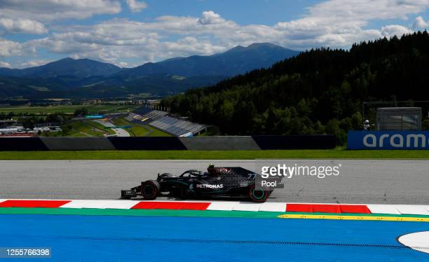 Valtteri Bottas of Finland driving the Mercedes AMG Petronas F1 Team Mercedes W11 on track during the Formula One Grand Prix of Styria at Red Bull...