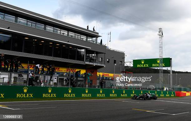 Valtteri Bottas of Finland driving the Mercedes AMG Petronas F1 Team Mercedes W11 crosses the finishing line in second place during the F1 Grand Prix...