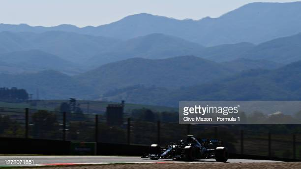 Valtteri Bottas of Finland driving the Mercedes AMG Petronas F1 Team Mercedes W11 during final practice ahead of the F1 Grand Prix of Tuscany at...