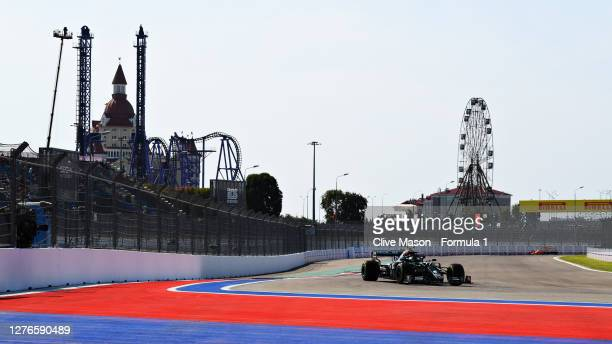 Valtteri Bottas of Finland driving the Mercedes AMG Petronas F1 Team Mercedes W11 during practice ahead of the F1 Grand Prix of Russia at Sochi...
