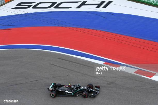 Valtteri Bottas of Finland driving the Mercedes AMG Petronas F1 Team Mercedes W11 on track during qualifying ahead of the F1 Grand Prix of Russia at...