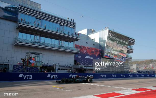 Valtteri Bottas of Finland driving the Mercedes AMG Petronas F1 Team Mercedes W11 crosses the line to win the race during the F1 Grand Prix of Russia...