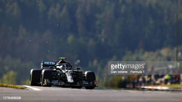 Valtteri Bottas of Finland driving the Mercedes AMG Petronas F1 Team Mercedes W11 during final practice ahead of the F1 Eifel Grand Prix at...