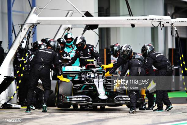 Valtteri Bottas of Finland driving the Mercedes AMG Petronas F1 Team Mercedes W11 retires during the F1 Eifel Grand Prix at Nuerburgring on October...