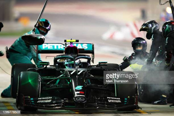 Valtteri Bottas of Finland driving the Mercedes AMG Petronas F1 Team Mercedes W11 makes a pitstop during the F1 Grand Prix of Sakhir at Bahrain...