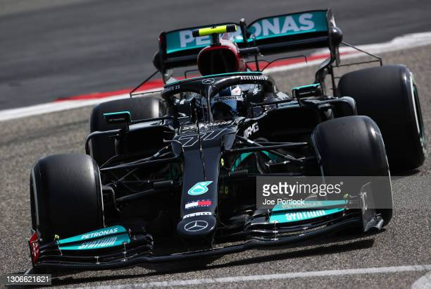 Valtteri Bottas of Finland driving the Mercedes AMG Petronas F1 Team Mercedes W12 on track during Day One of F1 Testing at Bahrain International...