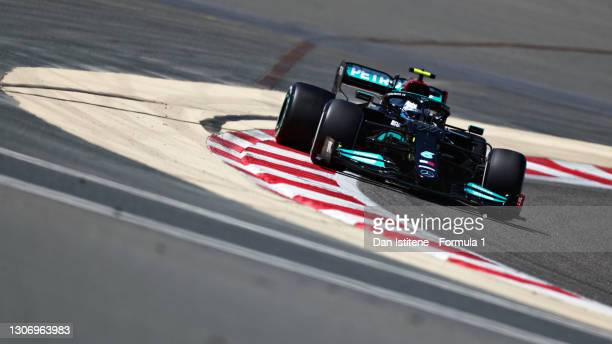 Valtteri Bottas of Finland driving the Mercedes AMG Petronas F1 Team Mercedes W12 during Day Three of F1 Testing at Bahrain International Circuit on...