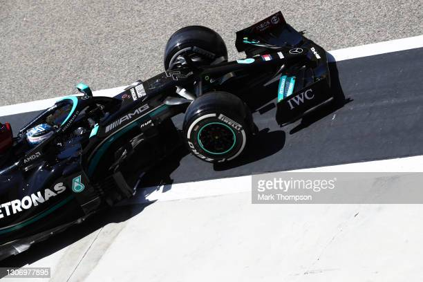 Valtteri Bottas of Finland driving the Mercedes AMG Petronas F1 Team Mercedes W12 in the Pitlane during Day Three of F1 Testing at Bahrain...