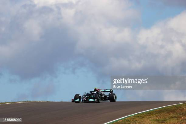 Valtteri Bottas of Finland driving the Mercedes AMG Petronas F1 Team Mercedes W12 on track during practice ahead of the F1 Grand Prix of Portugal at...