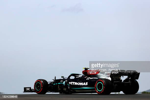 Valtteri Bottas of Finland driving the Mercedes AMG Petronas F1 Team Mercedes W12 on track during practice ahead of the F1 Grand Prix of France at...