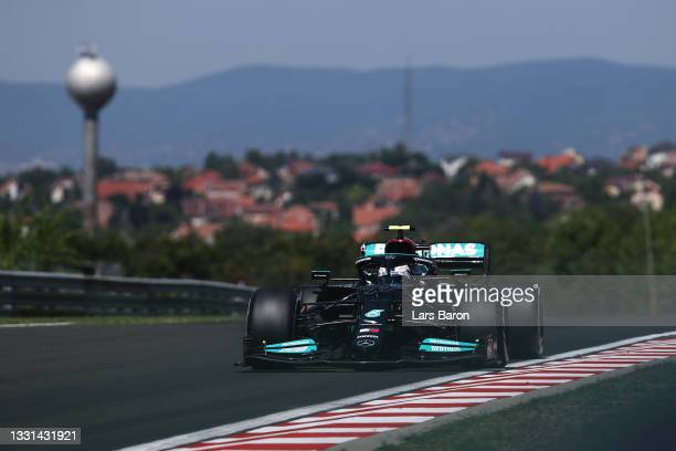 Valtteri Bottas of Finland driving the Mercedes AMG Petronas F1 Team Mercedes W12 during practice ahead of the F1 Grand Prix of Hungary at...
