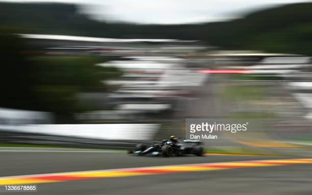Valtteri Bottas of Finland driving the Mercedes AMG Petronas F1 Team Mercedes W12 during practice ahead of the F1 Grand Prix of Belgium at Circuit de...