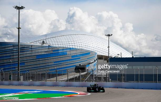 Valtteri Bottas of Finland driving the Mercedes AMG Petronas F1 Team Mercedes W12 during practice ahead of the F1 Grand Prix of Russia at Sochi...