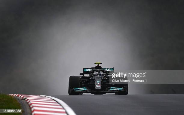 Valtteri Bottas of Finland driving the Mercedes AMG Petronas F1 Team Mercedes W12 on his way to the grid before the F1 Grand Prix of Turkey at...
