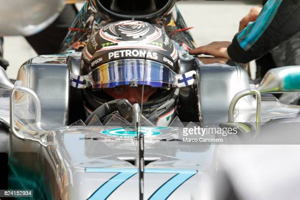HUNGARORING BUDAPEST HUNGARY Valtteri Bottas of Mercedes prepares to drive during practice for the Formula One Grand Prix of Hungary