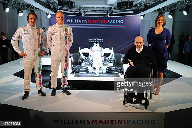 Valtteri Bottas Valtteri Bottas Sir Frank Williams and Claire Williams pose with the Williams Martini Racing formula one car on March 6 2014 in...