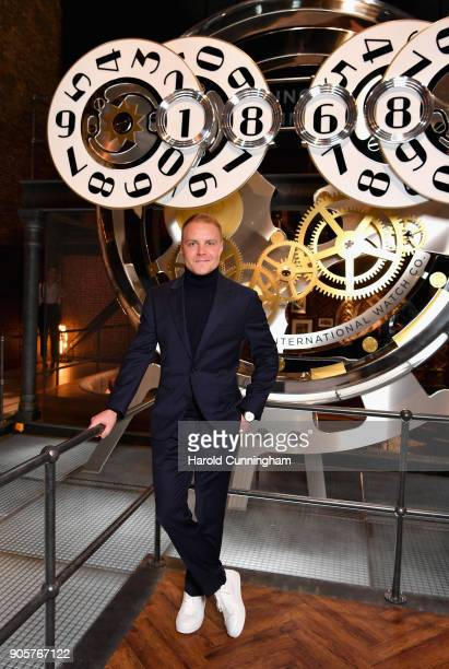 Valtteri Bottas visits the IWC booth during the Maison's launch of its Jubilee Collection at the Salon International de la Haute Horlogerie on...
