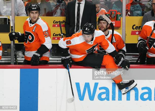 Valtteri Filppula and Ivan Provorov of the Philadelphia Flyers react to the play on the ice against the Columbus Blue Jackets on February 22 2018 at...