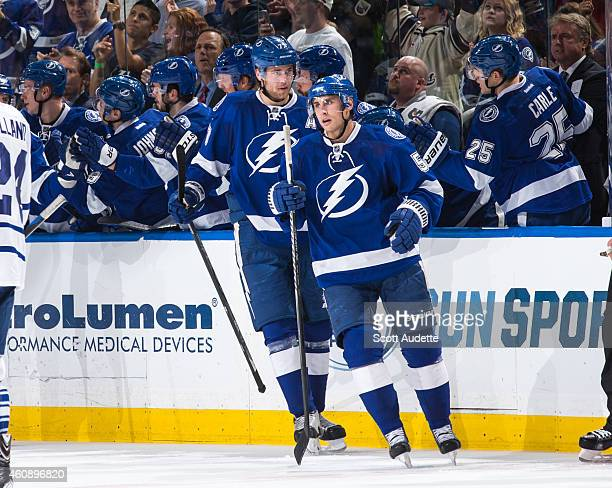 Valtteri Filppula and Victor Hedman of the Tampa Bay Lightning celebrate a goal against the Toronto Maple Leafs during the second period at the...