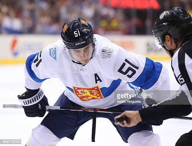 Valtteri Filppula of Team Finland prepares for a faceoff against Team Sweden during the World Cup of Hockey 2016 at Air Canada Centre on September 20...