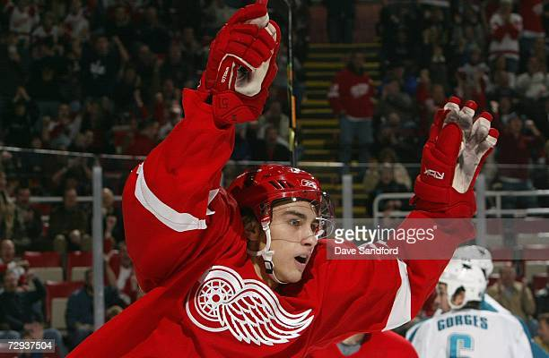 Valtteri Filppula of the Detroit Red Wings celebrates against the San Jose Sharks during their NHL game at Joe Louis Arena on December 2 2006 in...