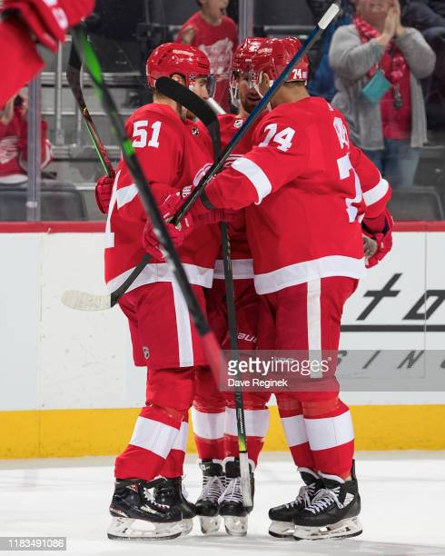 Valtteri Filppula of the Detroit Red Wings celebrates his first period goal with teammate Darren Helm and Madison Bowey during an NHL game against...