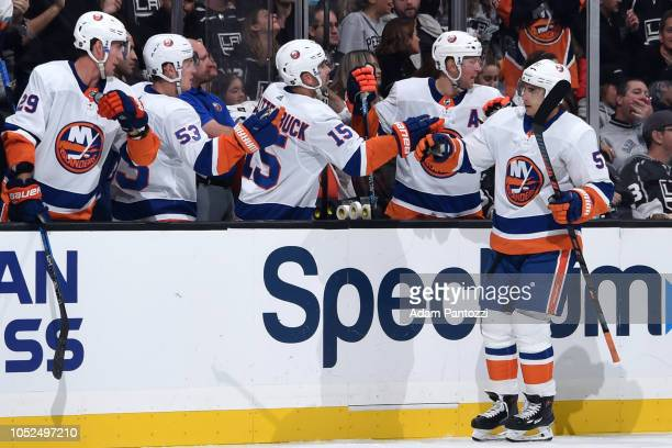 Valtteri Filppula of the New York Islanders celebrates his thirdperiod goal with the bench during the game against the Los Angeles Kings at STAPLES...