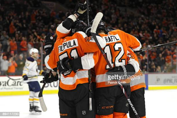 Valtteri Filppula of the Philadelphia Flyers celebrates his goal with teammates against the Buffalo Sabres during the second period at Wells Fargo...