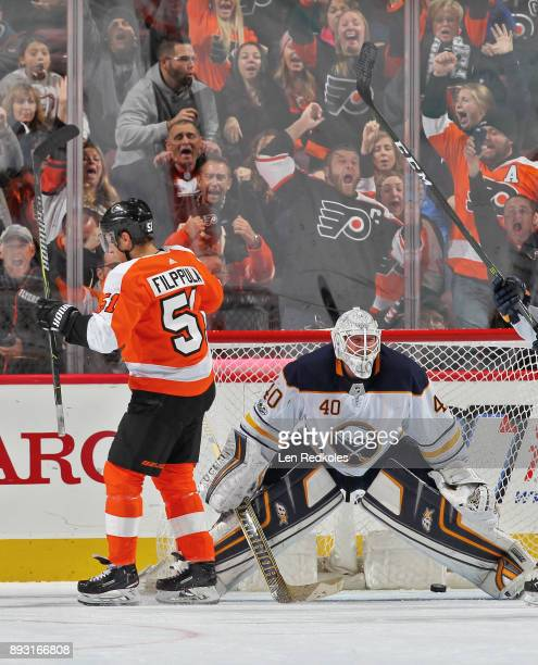 Valtteri Filppula of the Philadelphia Flyers celebrates his second period goal against Robin Lehner of the Buffalo Sabres on December 14 2017 at the...