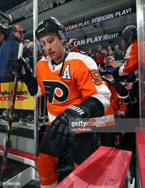 Valtteri Filppula of the Philadelphia Flyers enters the ice surface for warmups against the Montreal Canadiens on February 8 2018 at the Wells Fargo...
