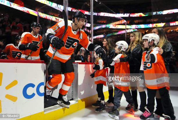 Valtteri Filppula of the Philadelphia Flyers enters the ice surface prior to the start of his game against the Montreal Canadiens on February 8 2018...