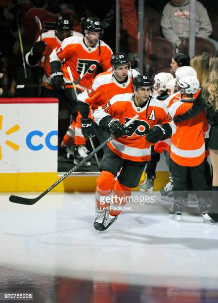 Valtteri Filppula of the Philadelphia Flyers enters the ice surface prior to the start of his game against the New Jersey Devils on February 13 2018...