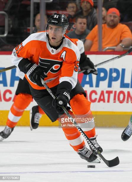 Valtteri Filppula of the Philadelphia Flyers moves the puck up the ice on November 21 2017 at the Wells Fargo Center in Philadelphia Pennsylvania