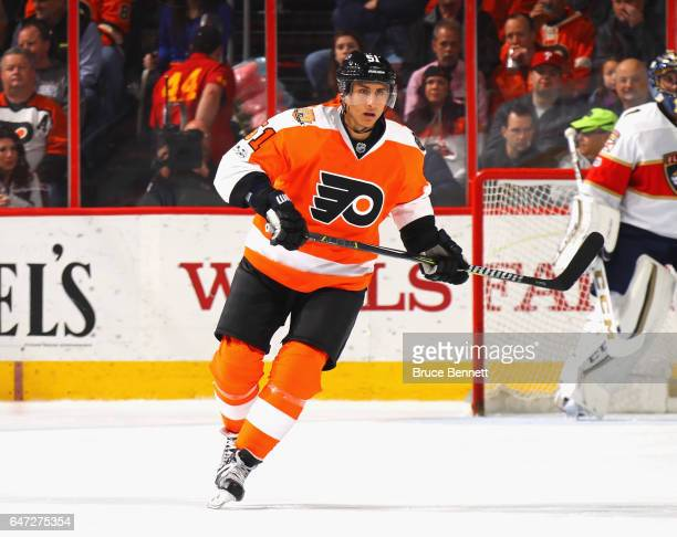 Valtteri Filppula of the Philadelphia Flyers skates against the Florida Panthers at the Wells Fargo Center on March 2 2017 in Philadelphia...