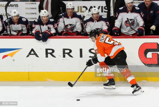 Valtteri Filppula of the Philadelphia Flyers skates the puck against the Columbus Blue Jackets on February 22 2018 at the Wells Fargo Center in...