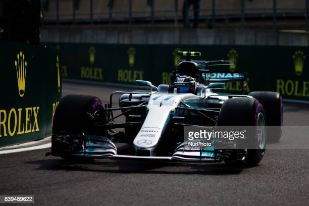 Valtteri from Finland of team Mercedes GP during the Qualifying of Formula One Belgian Grand Prix at Circuit de SpaFrancorchamps on August 25 2017 in...