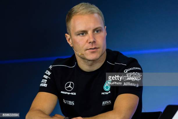 Valtteri from Finland of team Mercedes GP in the FIA official press conference during the Formula One Belgian Grand Prix at Circuit de...