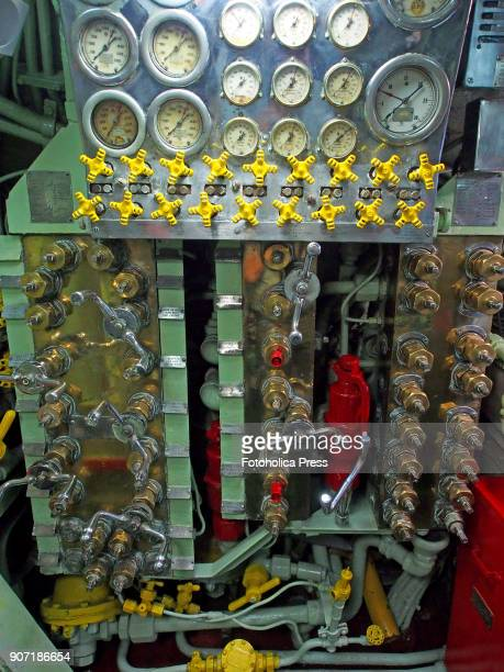 Valves and manifold of the compressed air system in the control room of the BAP Abtao submarine of the Peruvian Navy The ship a Mackerel class...
