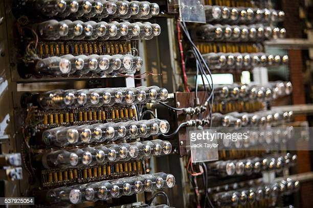 Valves on the Colossus computer used during World War II to decypher German code at Block H Bletchley Park pictured at The National Museum of...