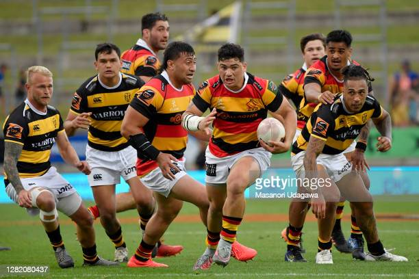 Valynce Te Whare of Waikato makes a break during the round 7 Mitre 10 Cup match between Waikato and Taranaki at FMG Stadium on October 25 2020 in...